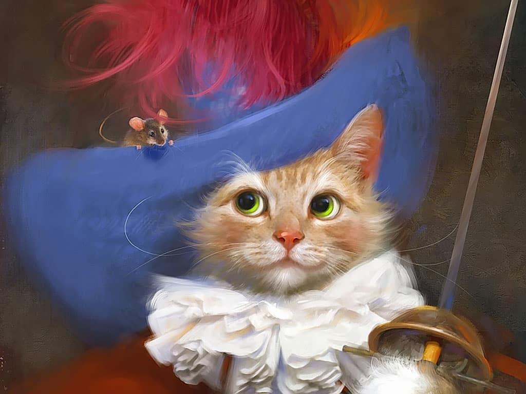 Тайная вечеря, картинка с анимацией кот в шляпе