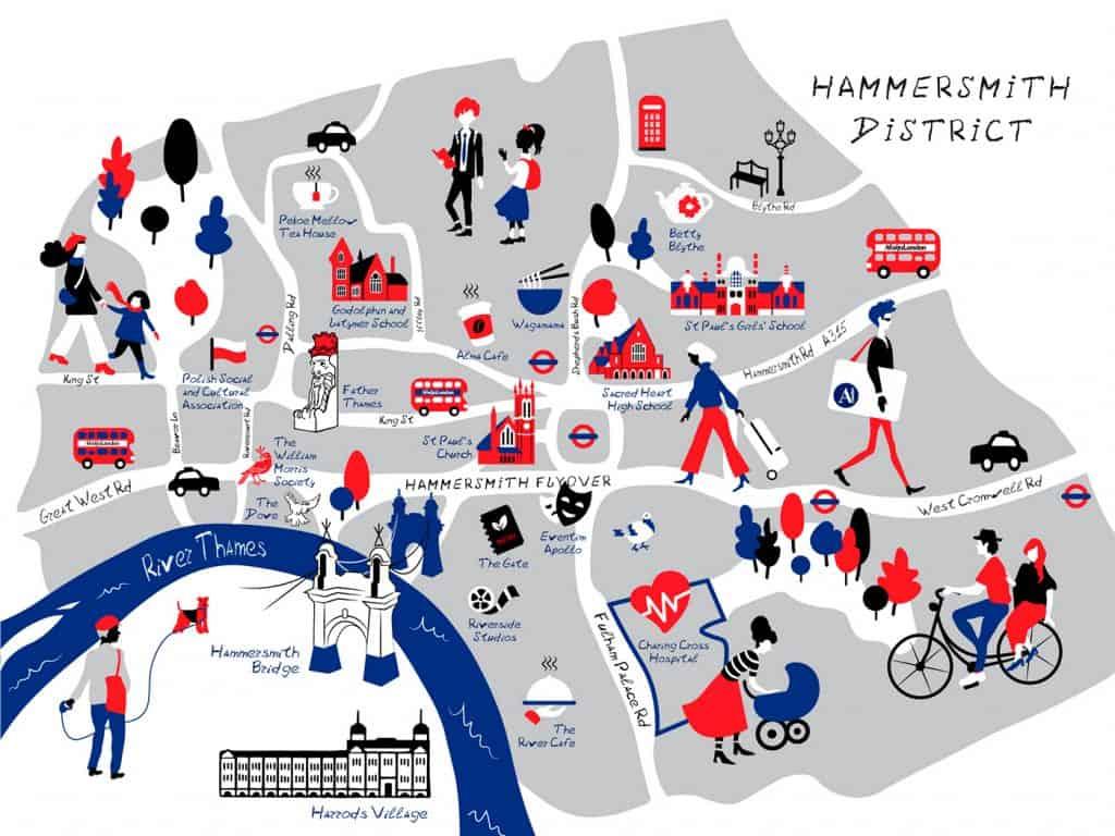 Afisha.London, Hammersmith map
